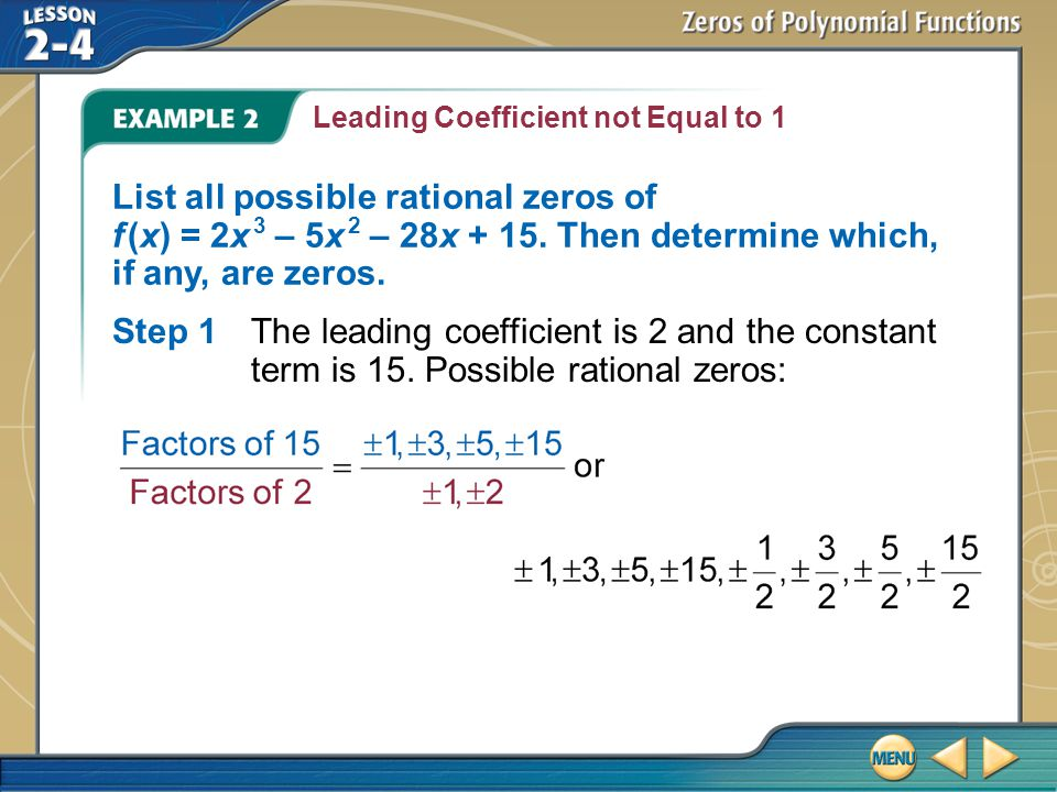 Leading Coefficient not Equal to 1
