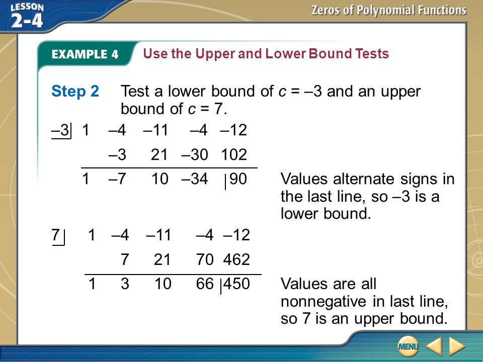 Step 2 Test a lower bound of c = –3 and an upper bound of c = 7.