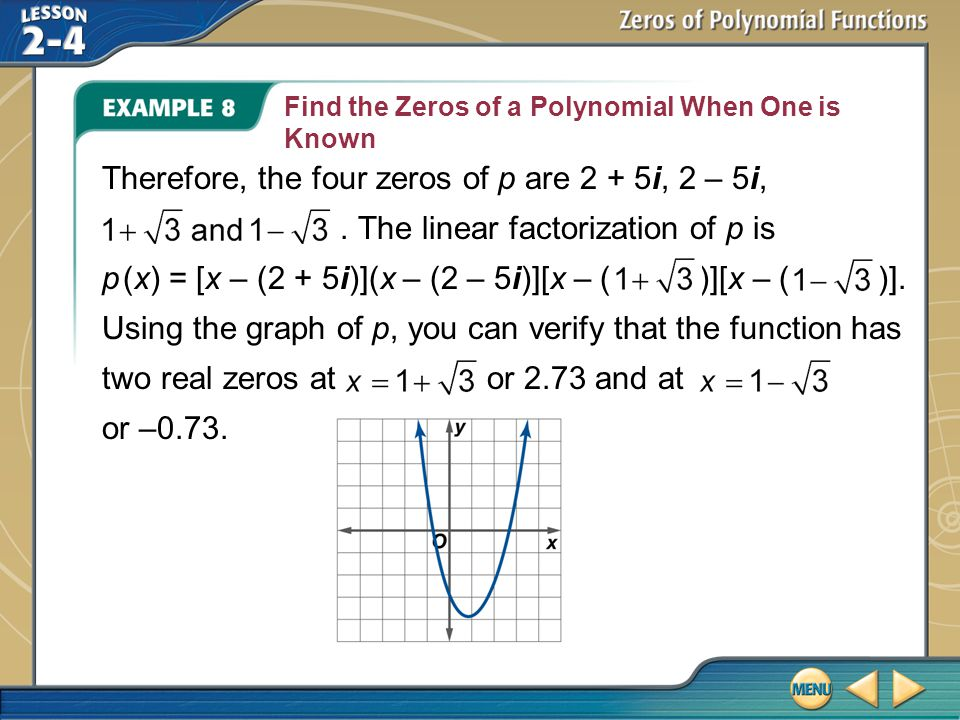 Find the Zeros of a Polynomial When One is Known