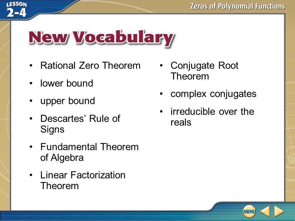 Descartes' Rule of Signs Fundamental Theorem of Algebra