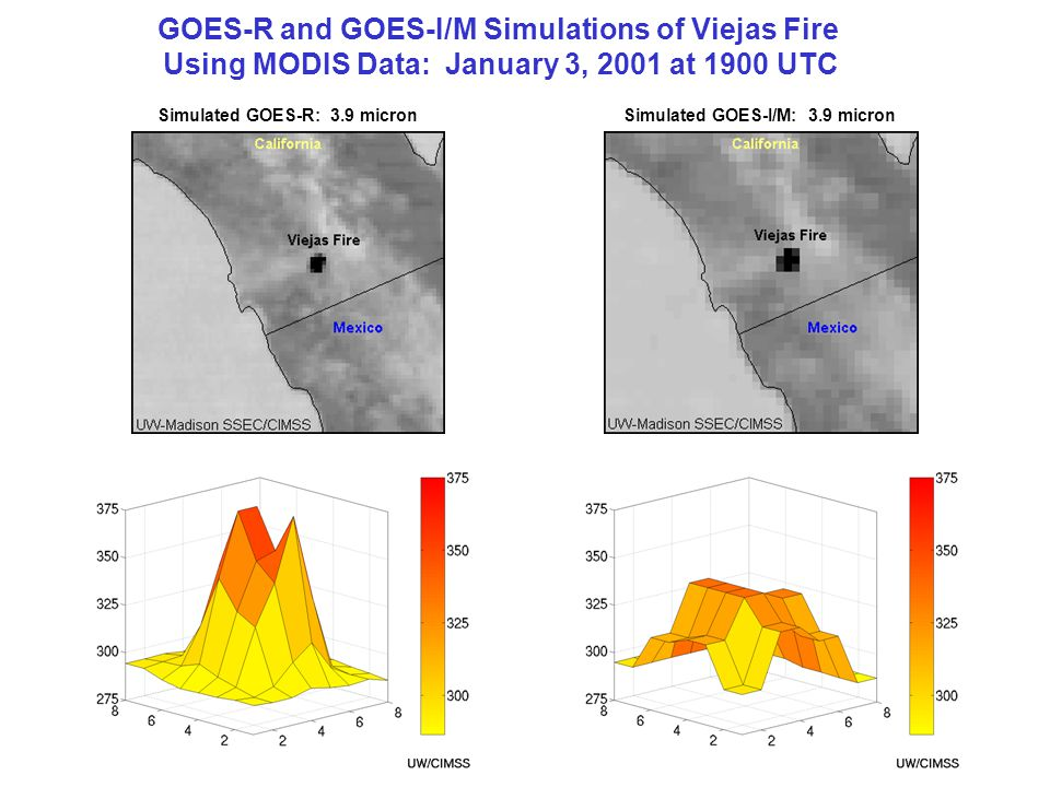 GOES-R and GOES-I/M Simulations of Viejas Fire Using MODIS Data: January 3, 2001 at 1900 UTC