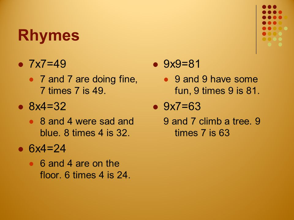 Rhymes 7x7=49. 7 and 7 are doing fine, 7 times 7 is 49. 8x4=32. 8 and 4 were sad and blue. 8 times 4 is 32.