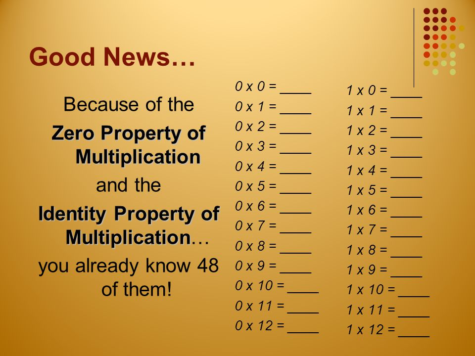 Good News… Because of the Zero Property of Multiplication and the