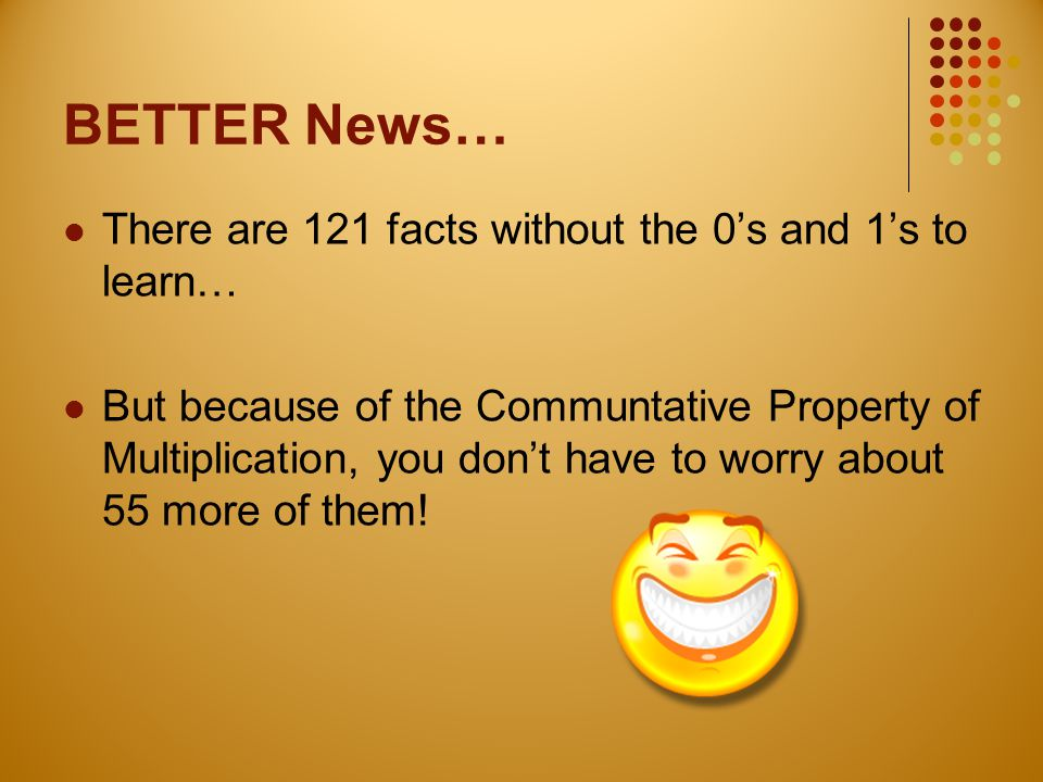 BETTER News… There are 121 facts without the 0's and 1's to learn…