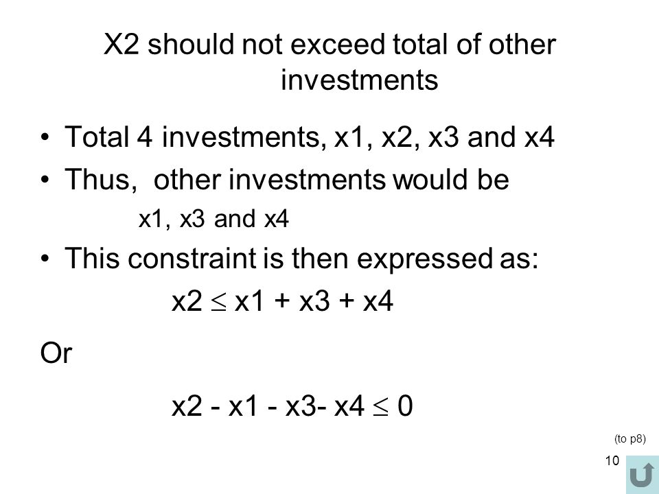 X2 should not exceed total of other investments