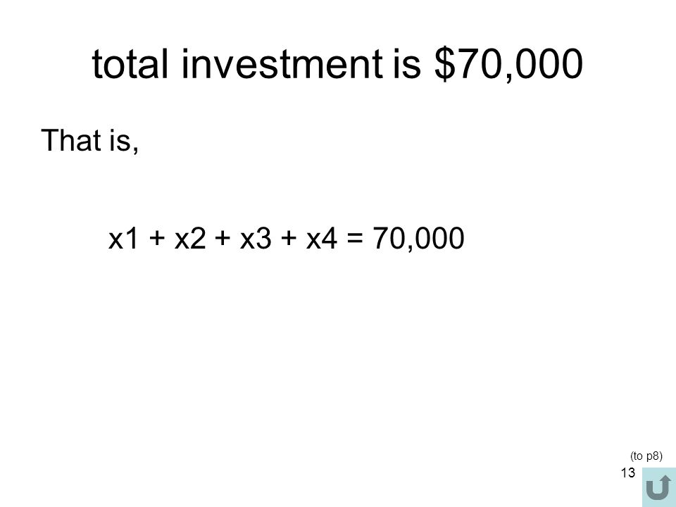 total investment is $70,000 That is, x1 + x2 + x3 + x4 = 70,000