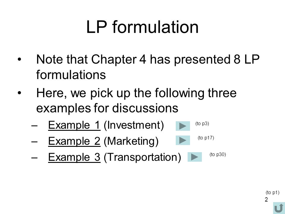 LP formulation Note that Chapter 4 has presented 8 LP formulations