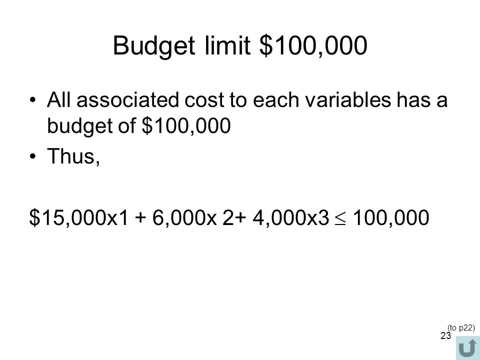Budget limit $100,000 All associated cost to each variables has a budget of $100,000. Thus, $15,000x1 + 6,000x 2+ 4,000x3  100,000.