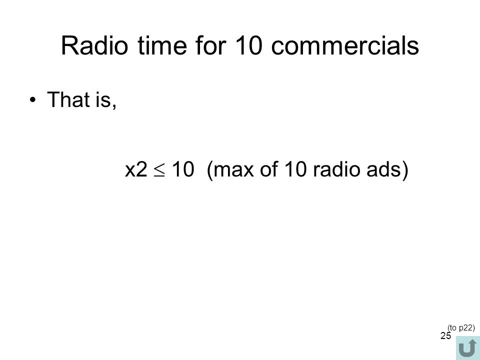 Radio time for 10 commercials