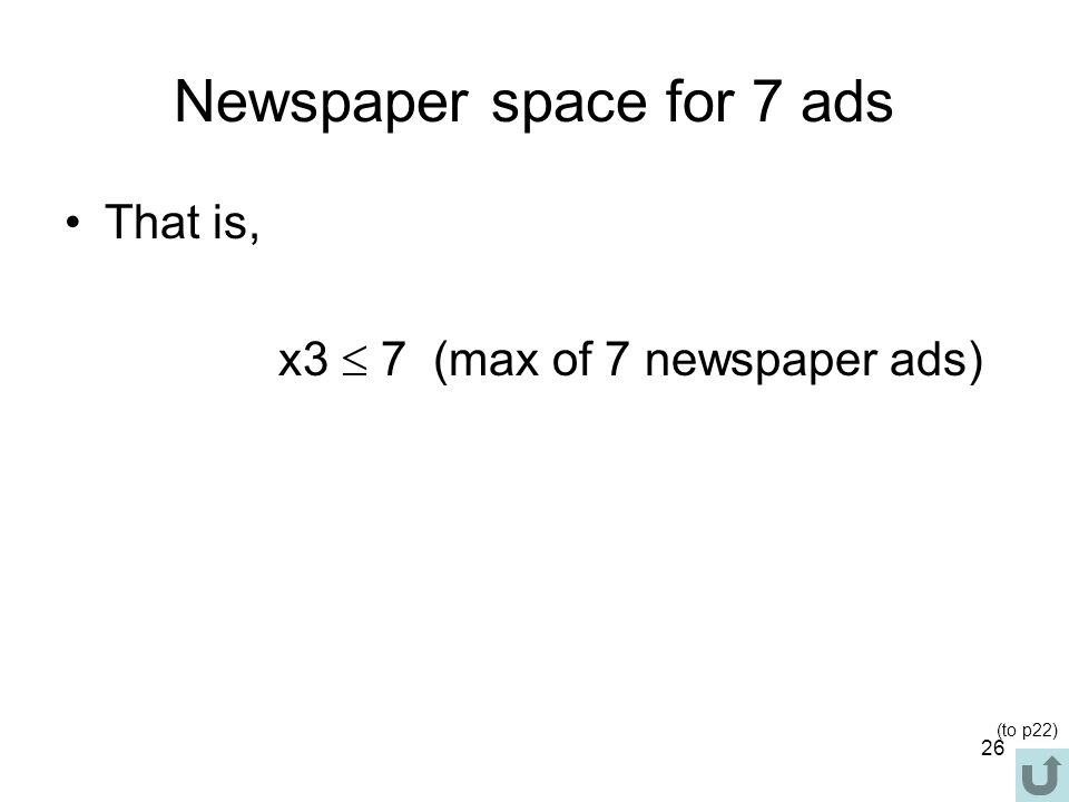 Newspaper space for 7 ads