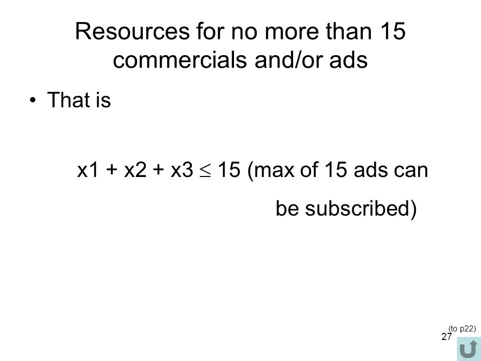 Resources for no more than 15 commercials and/or ads