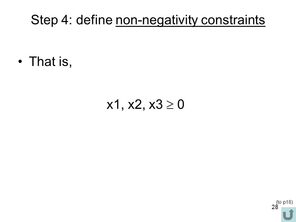 Step 4: define non-negativity constraints
