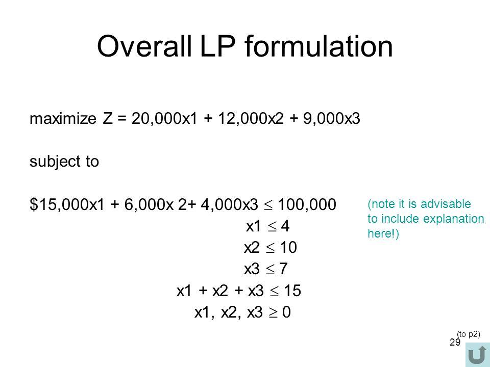 Overall LP formulation