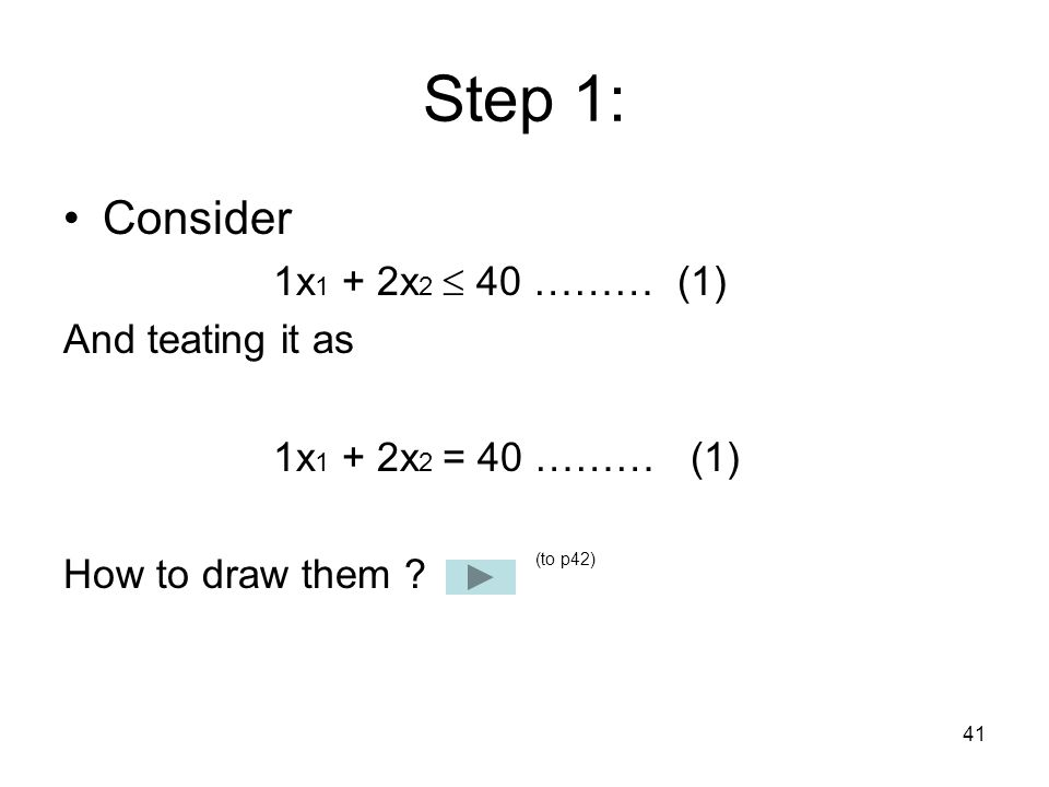 Step 1: Consider 1x1 + 2x2  40 ……… (1) And teating it as