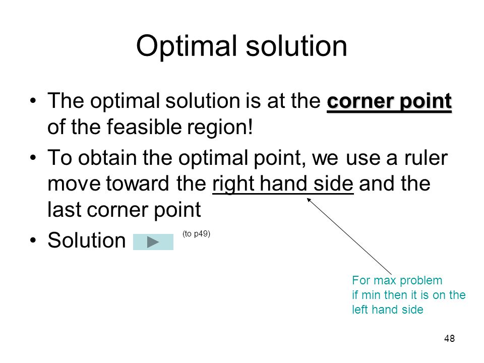 Optimal solution The optimal solution is at the corner point of the feasible region!