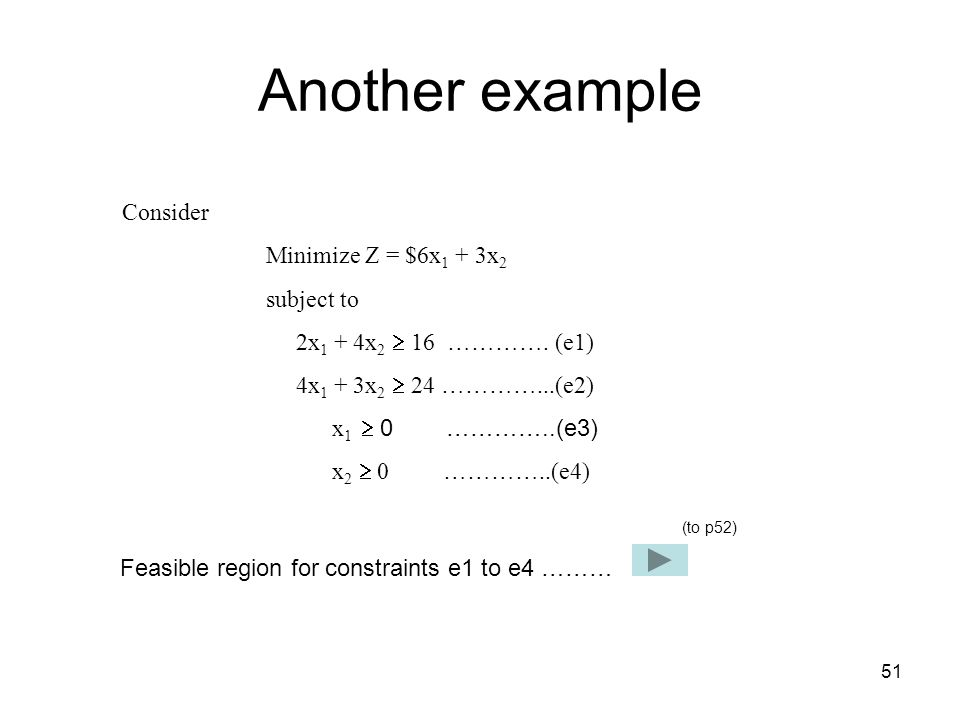 Another example Consider Minimize Z = $6x1 + 3x2 subject to