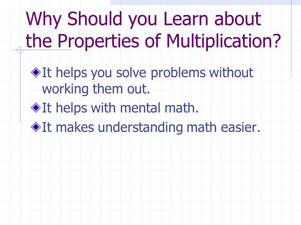 Why Should you Learn about the Properties of Multiplication