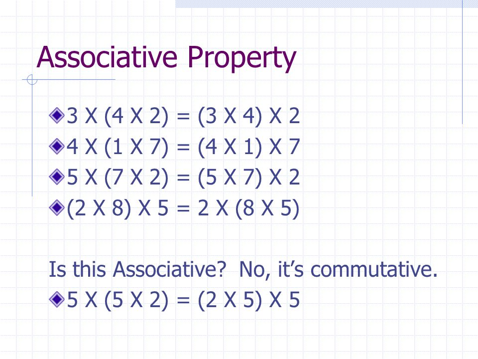 Associative Property 3 X (4 X 2) = (3 X 4) X 2