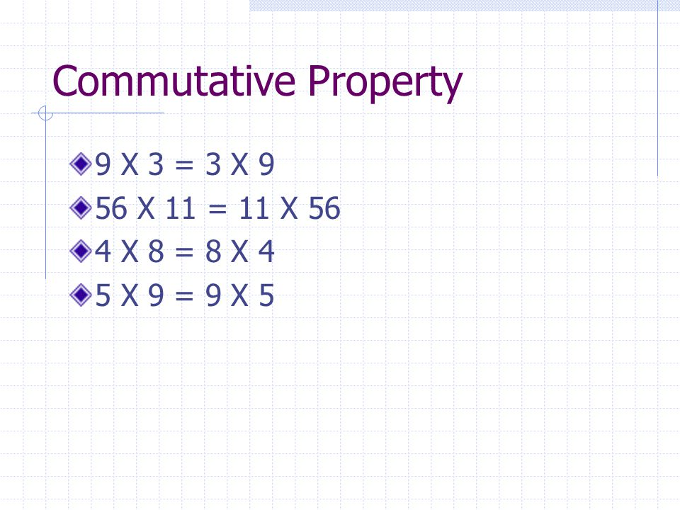 Commutative Property 9 X 3 = 3 X 9 56 X 11 = 11 X 56 4 X 8 = 8 X 4