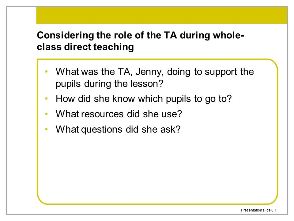 Considering the role of the TA during whole-class direct teaching