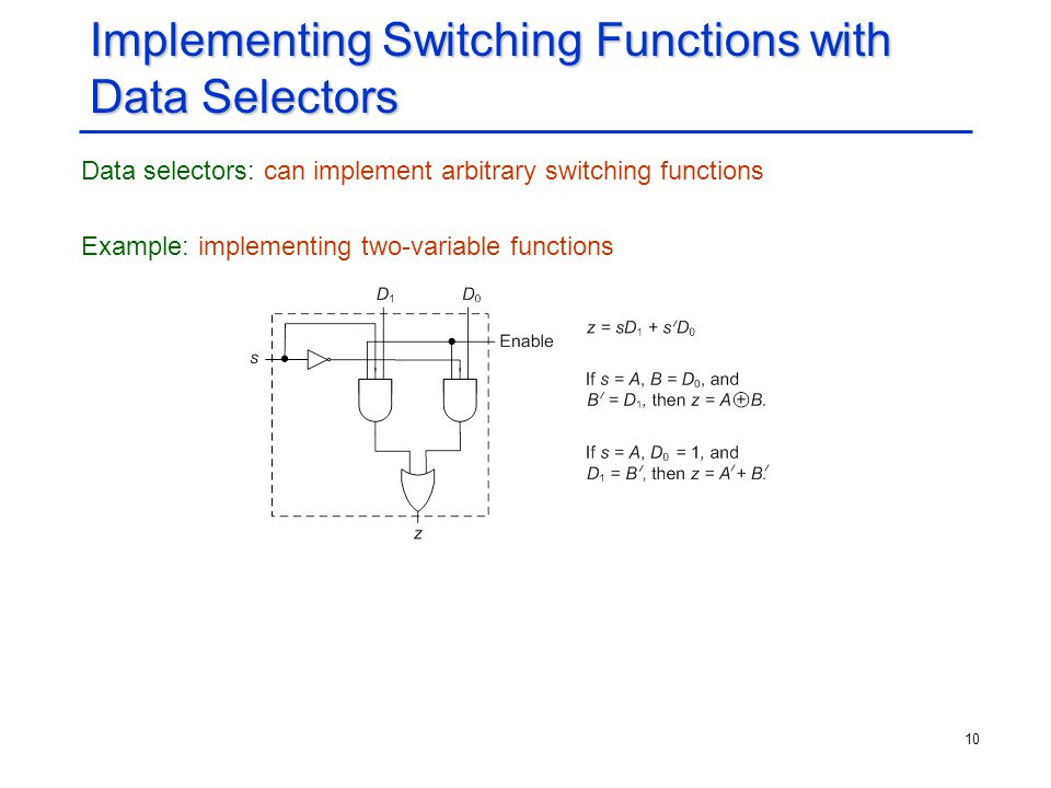 Implementing Switching Functions with Data Selectors