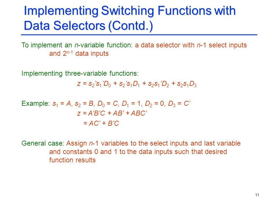 Implementing Switching Functions with Data Selectors (Contd.)