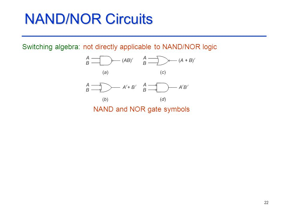 NAND and NOR gate symbols