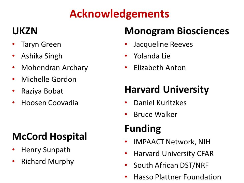 Acknowledgements UKZN McCord Hospital Monogram Biosciences