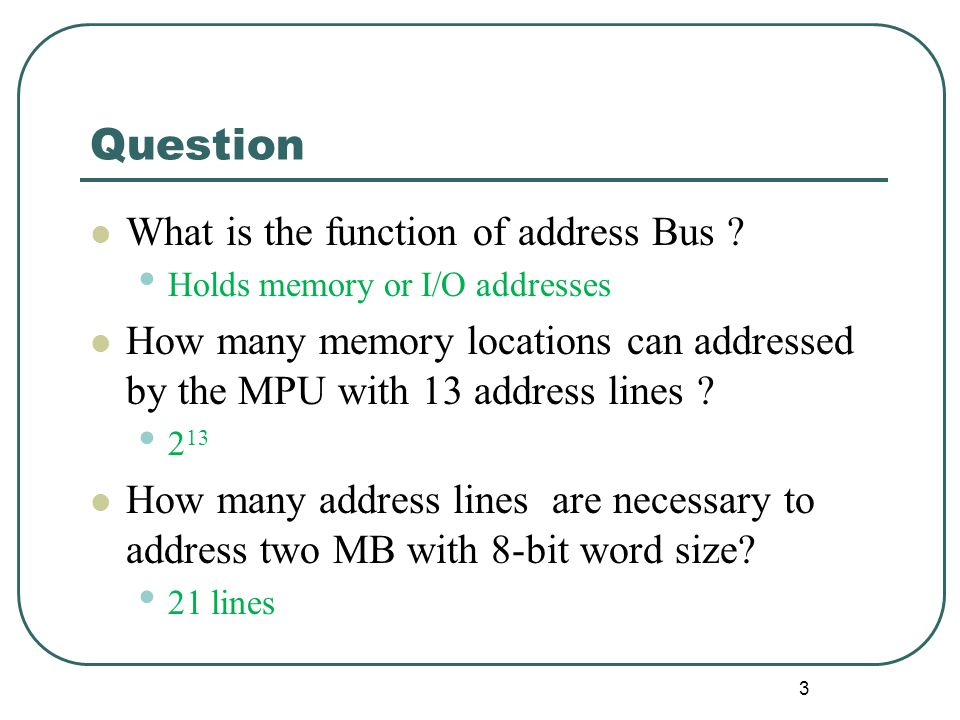 Question What is the function of address Bus