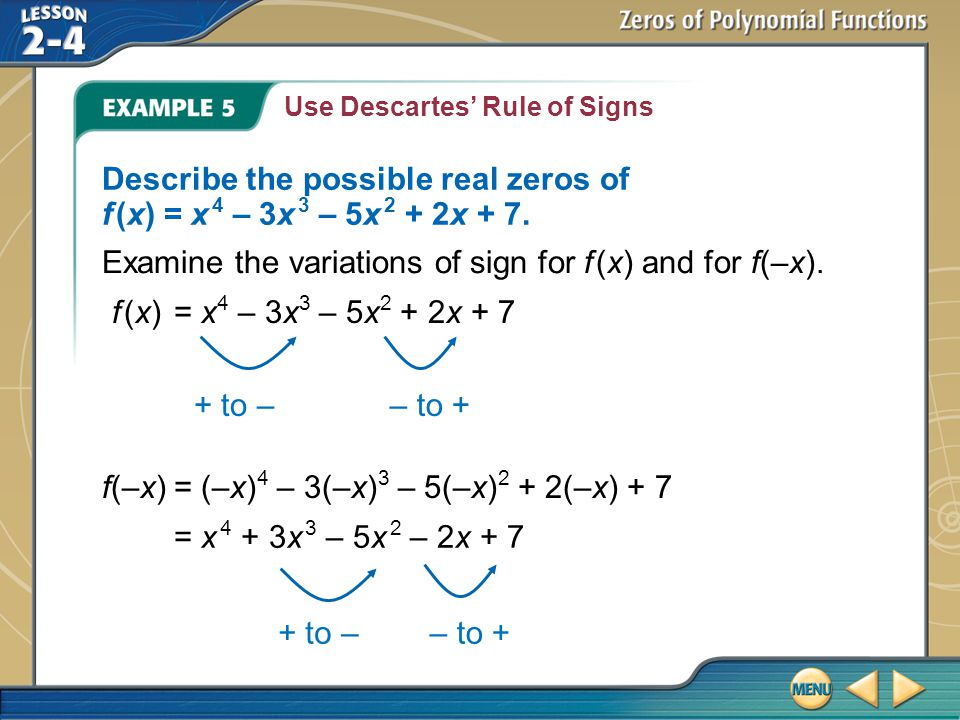 Examine the variations of sign for f (x) and for f(–x).