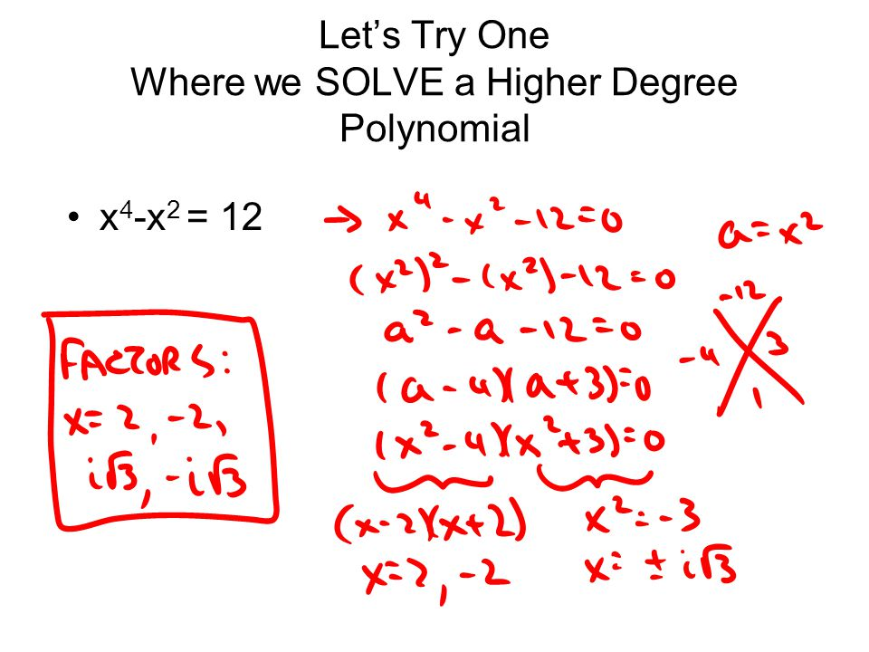 Let's Try One Where we SOLVE a Higher Degree Polynomial