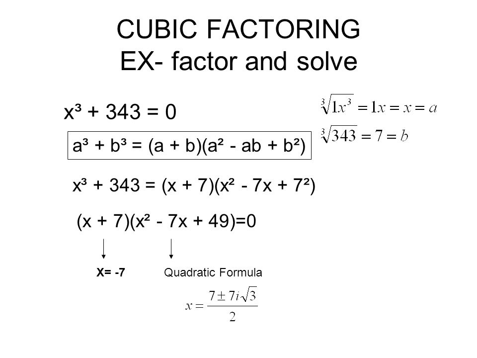 CUBIC FACTORING EX- factor and solve