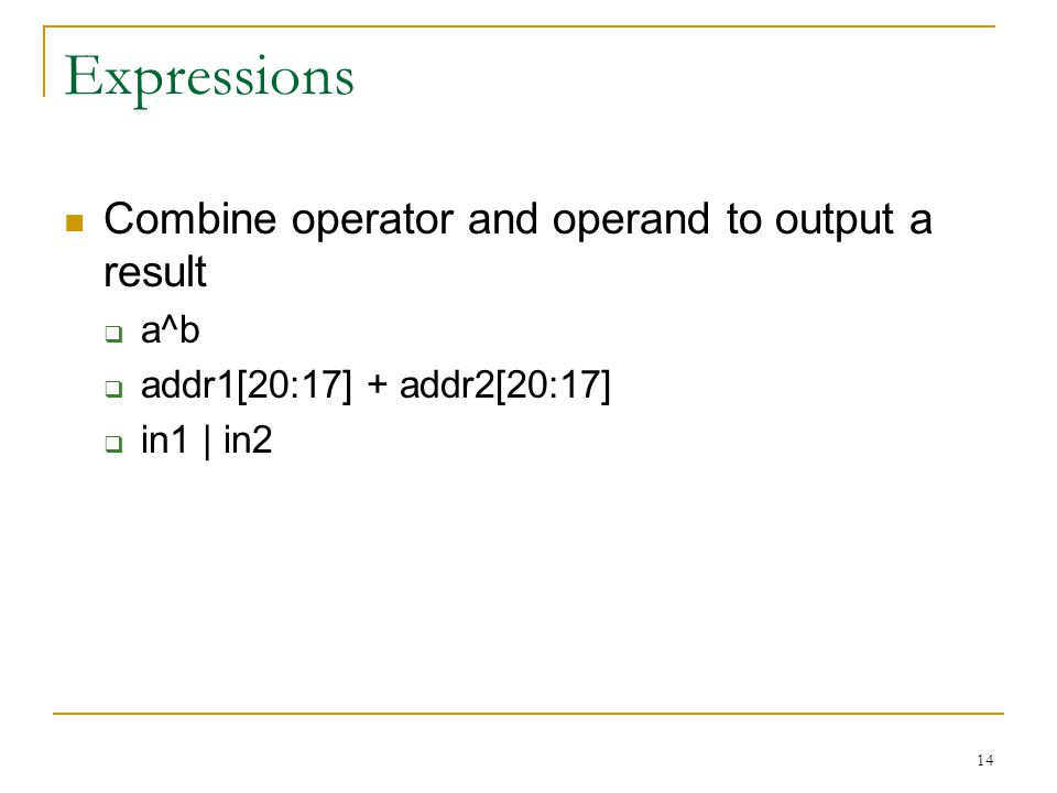 Expressions Combine operator and operand to output a result a^b