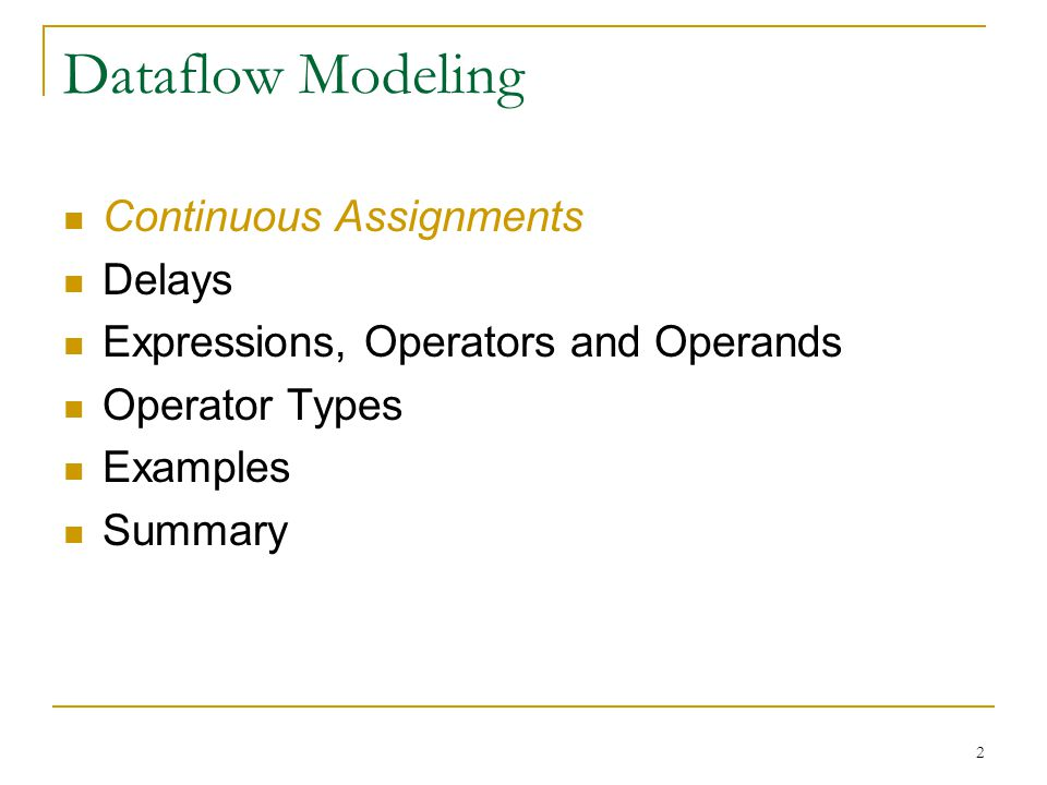 Dataflow Modeling Continuous Assignments Delays