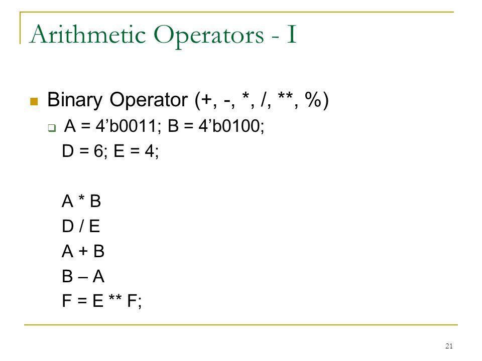 Arithmetic Operators - I