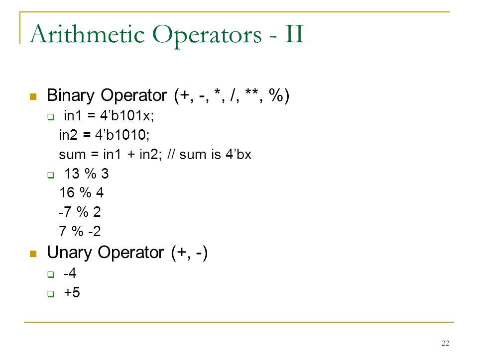 Arithmetic Operators - II