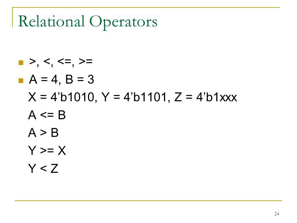 Relational Operators >, <, <=, >= A = 4, B = 3