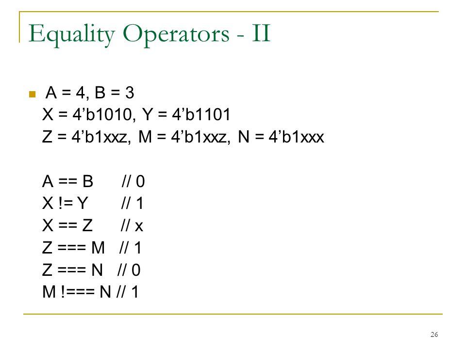 Equality Operators - II