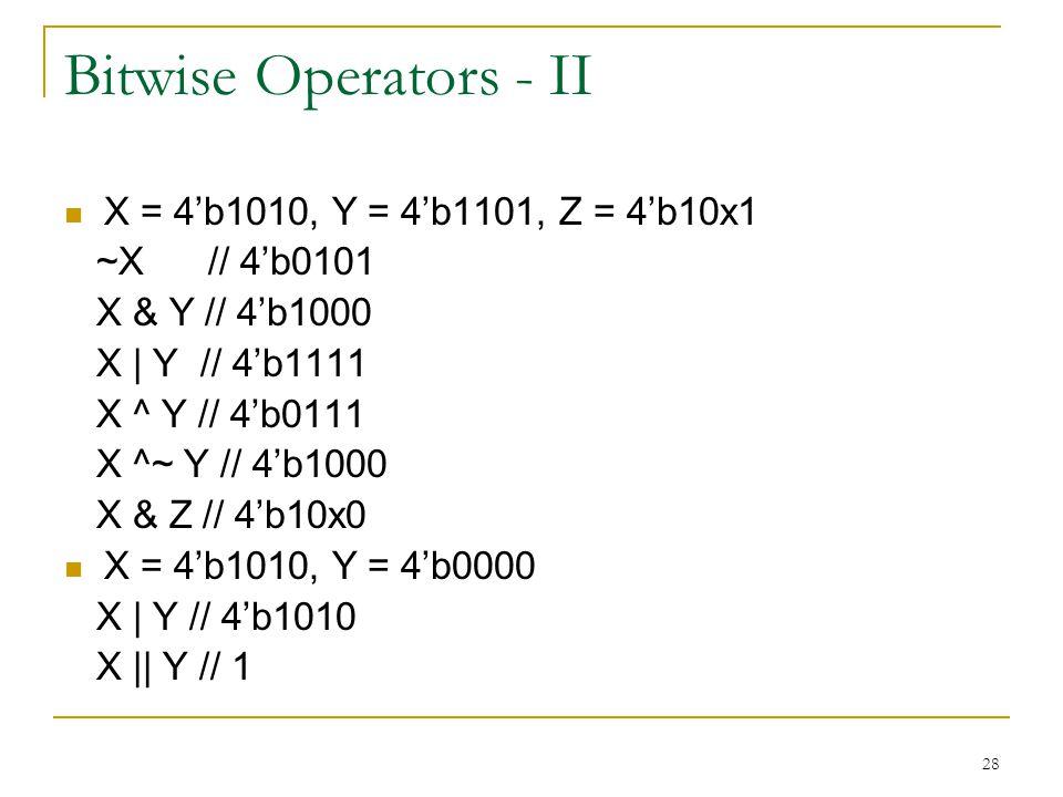 Bitwise Operators - II X = 4'b1010, Y = 4'b1101, Z = 4'b10x1