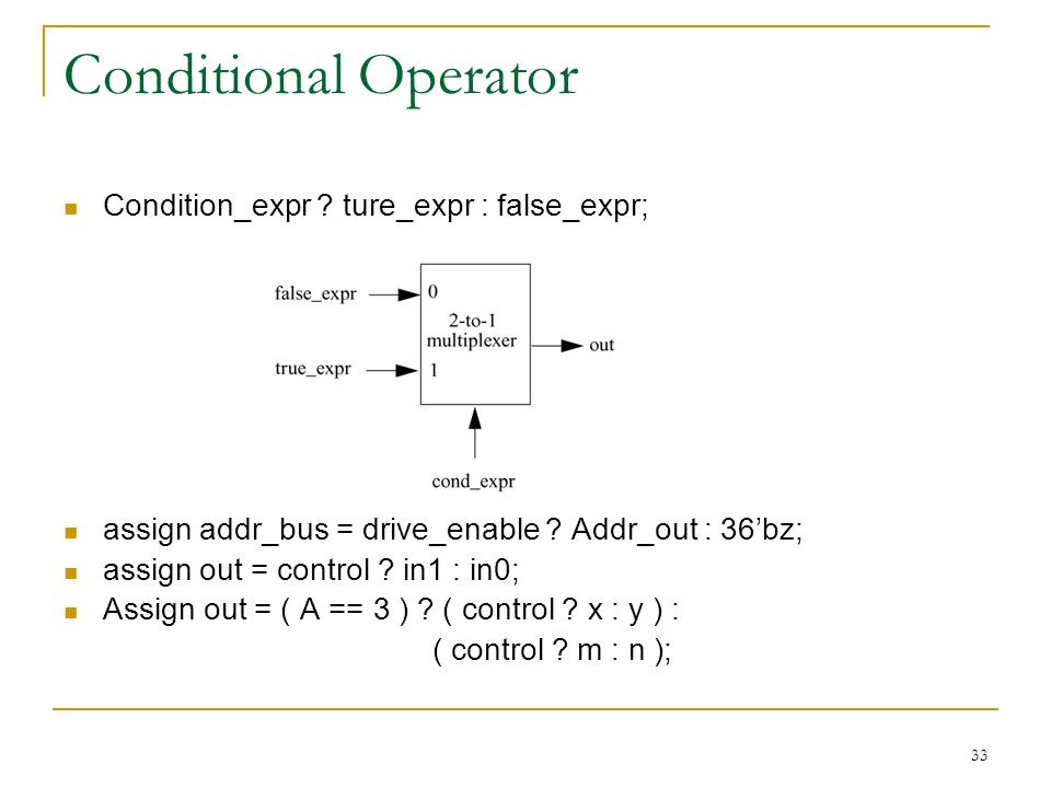 Conditional Operator Condition_expr ture_expr : false_expr;