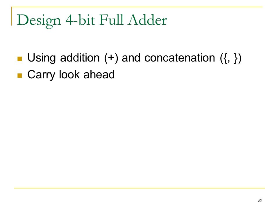 Design 4-bit Full Adder Using addition (+) and concatenation ({, })