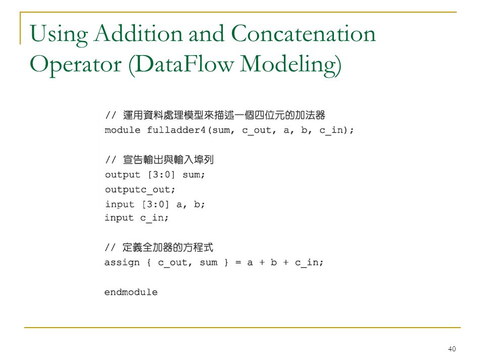 Using Addition and Concatenation Operator (DataFlow Modeling)