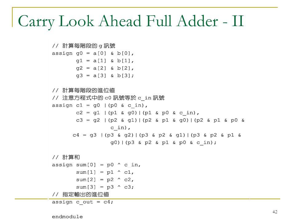 Carry Look Ahead Full Adder - II