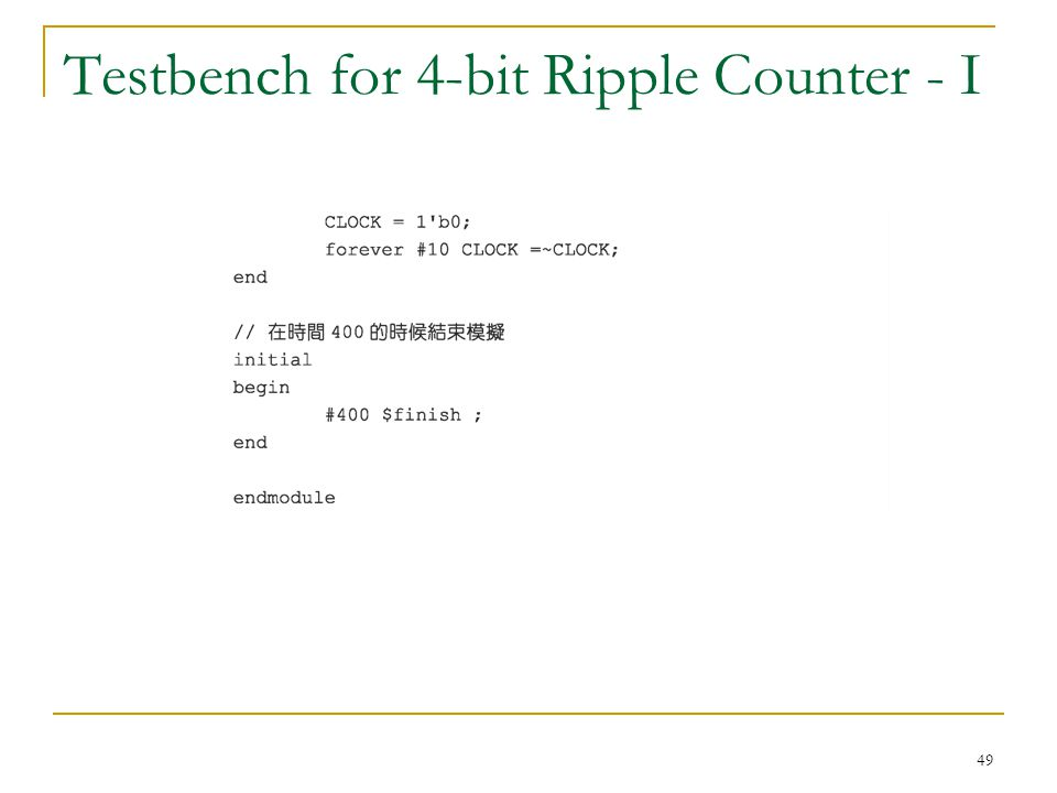Testbench for 4-bit Ripple Counter - I