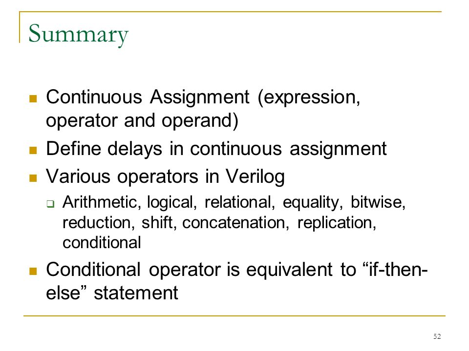Summary Continuous Assignment (expression, operator and operand)