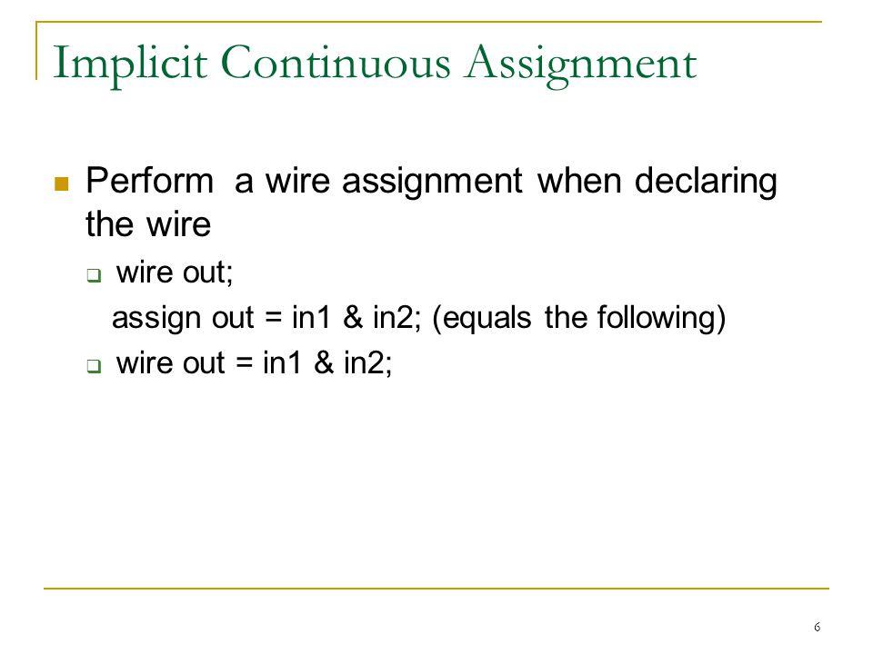 Implicit Continuous Assignment