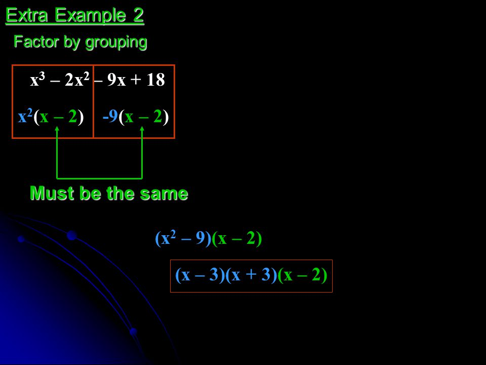 Extra Example 2 x3 – 2x2 – 9x + 18 x2(x – 2) -9(x – 2)