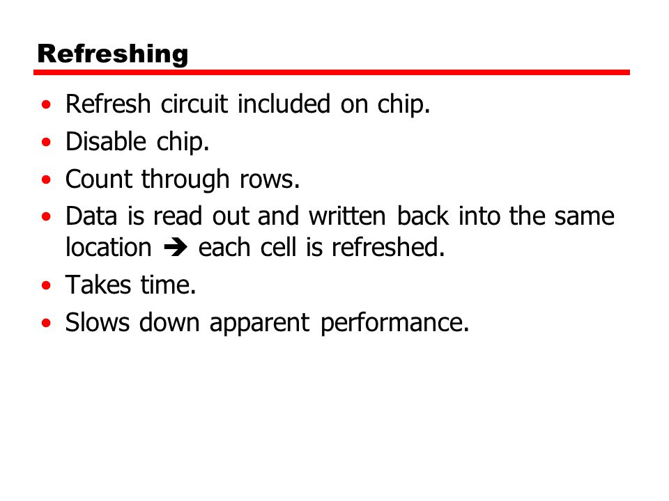 Refreshing Refresh circuit included on chip. Disable chip. Count through rows.