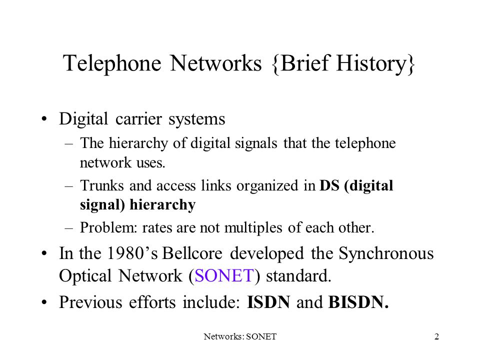 Telephone Networks {Brief History}