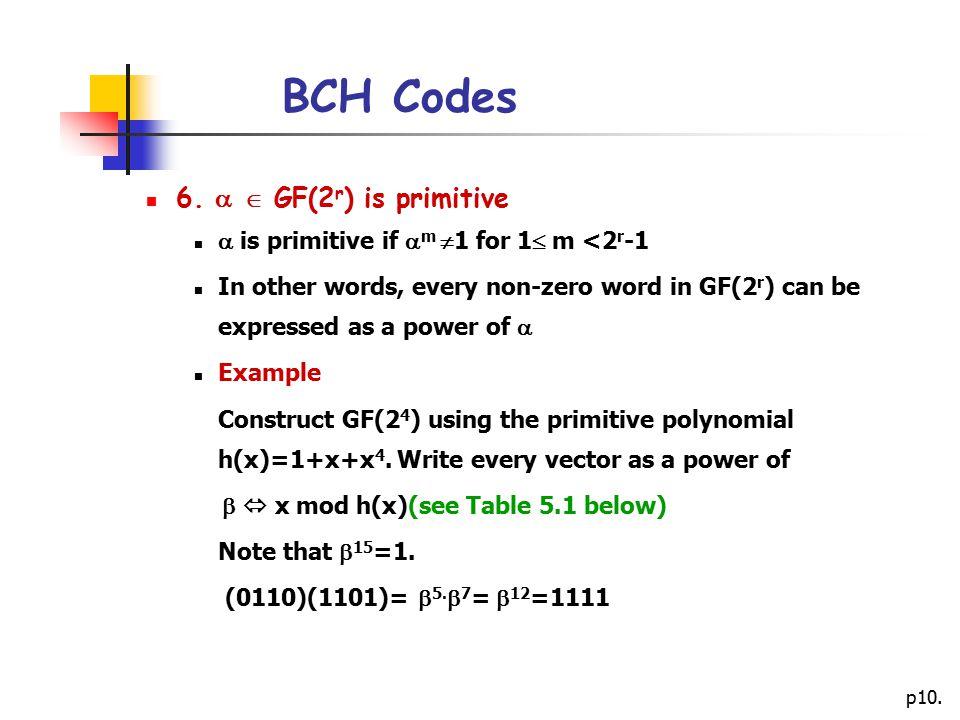 BCH Codes 6.   GF(2r) is primitive